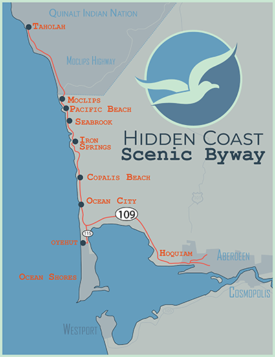 Hidden Coast Scenic Byway Map Washington USA